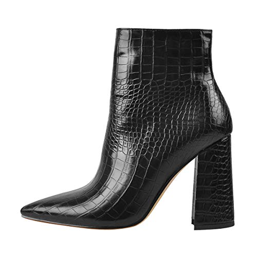 Only maker Damen Klassische Stiefeletten Elegante Spitze Boots Animal Print Schwarz 38 EU