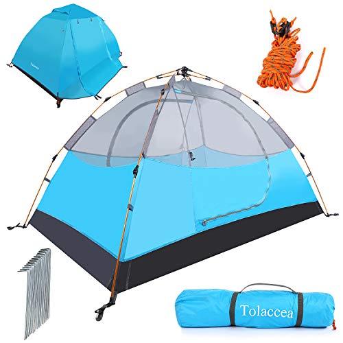 Tolaccea Zelt 2 Personen Ultraleichte Camping Zelt Aluminiumstangen Trekkingzelt Automatisches Schnellöffnungszelt sekundenzelt für Trekking, Festival, Camping und Outdoor Blau