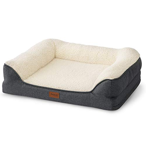 Bedsure Orthopedic Dog Beds Medium Size- Memory Foam Couch Dog Sofa with Removable Washable Cover& Nonskid Bottom, 71x58x18cm