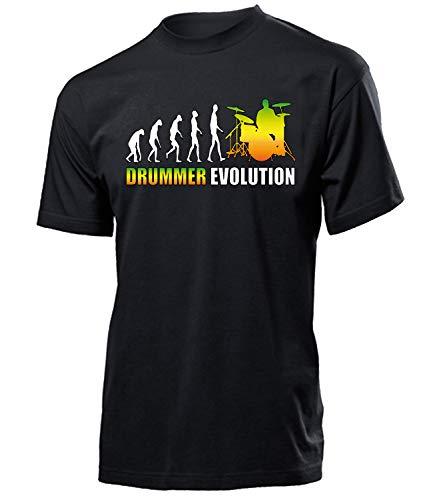 Drummer Evolution Geburtstag Geschenke Herren Männer t Shirt Tshirt t-Shirt zubehör Schlagzeug Musiker Bekleidung Oberteil Hemd Kleidung Outfit Fun Spruch witzig Artikel