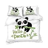 GTBDWOSZ® Panda Animal De Dibujos Animados Ropa De Cama Infantil 220X240 Cm 3D Imprimiendo Funda Nórdica Y 2 Fundas De Almohada De Anti-Humedad, Anti-Ácaro, Suave Y Cómodo Antialérgico Cuidado Fácil
