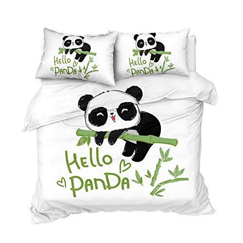WTBDWOSH® Ropa De Cama Panda Animal De Dibujos Animados 150X200 Cm 3D Patrón Imprimiendo Funda Nórdica Y Funda De Almohada 2 Piezas Fibra Ultrafina De Poliéster Suave Y Transpirable Antialérgico CUID