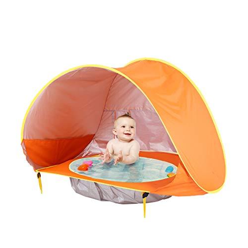 WLQWER Carpa de Playa para bebés con Piscina, UPF 50+ Beach Sun Shelter Carpa al Aire Libre para bebés y niños de 0 a 3 años, Parques y Sombra de Playa Mini Piscina portátil,Naranja
