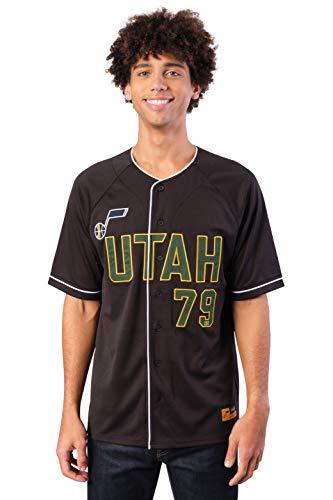 Ultra Game NBA Utah Jazz Mens Mesh Button Down Baseball Jersey Tee Shirt, Black, Large