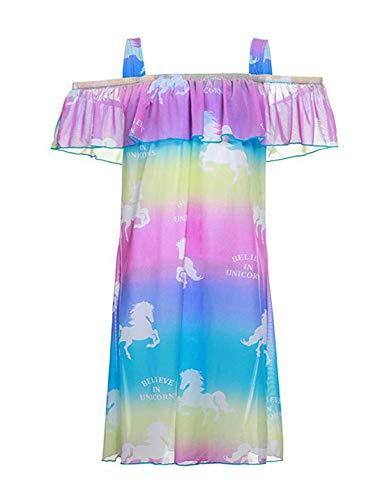 Mama stadt Pareos für Mädchen Strandkleid Einhorn Bikini Cover Up Sommer Beach Vertuschen Rüschen Strandponcho/L