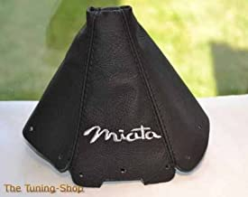 The Tuning-Shop Ltd For Mazda Mx-5 Mk1 NA 1989-1997 Shift Boot Black Leather Grey Miata Embroidery