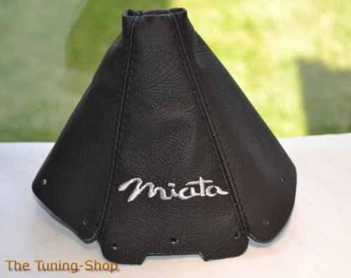 Für Mazda MX-5Mk11989–1997Schaltsack schwarz Leder grau Miata Stickerei