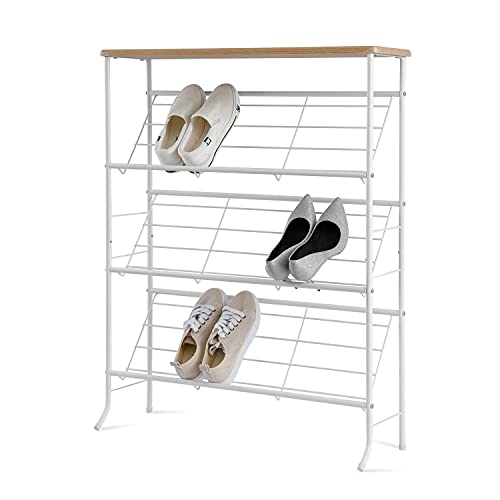 Zapatero con 3 estantes de rejilla de metal inclinables, organizador de zapatos versátil de metal, apilable, para salón, pasillo, entrada
