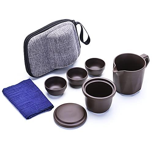 IPOUJ Zisha Kuai KE Cup Una Olla, Juego de té de Cuatro Tazas, Bolso portátil, Tetera portátil, Taza de té al Aire Libre