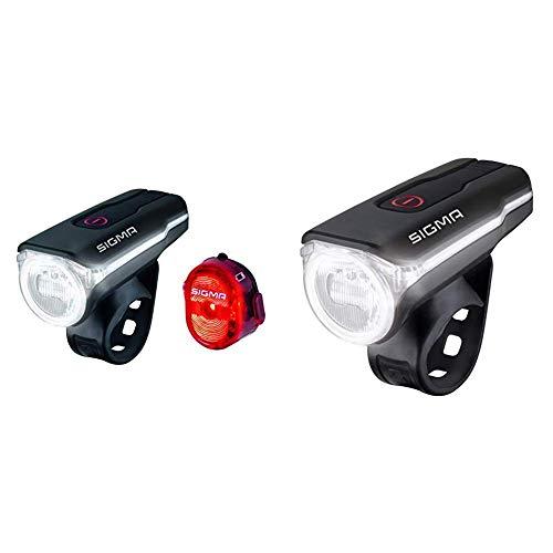 SIGMA SPORT LED Fahrradbeleuchtung-Set Aura 60 USB/Nugget II, Frontlicht und Rücklicht, StVZO Zulassung & Fahrradbeleuchtung Aura 60 USB, 60 LUX, Frontlicht, StVZO zugelassen, 3 Leuchtmodi
