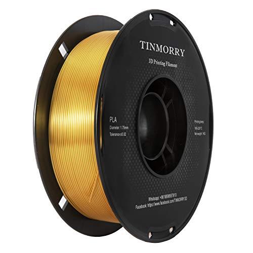 PLA Filamento 1,75 mm Silk Gold, TINMORRY Materiales de Impresión 3D Filamento 1 kg Spool