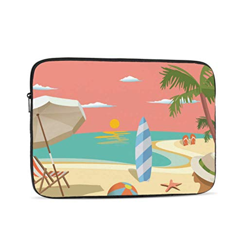 MacBook A1466 Case Cartoon Summer Cool Beach Landscape MacBook Pro Protector Multi-Color & Size Choices10/12/13/15/17 Inch Computer Tablet Briefcase Carrying Bag