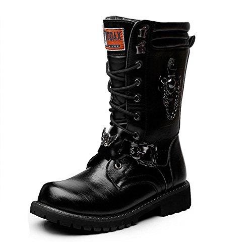 Battle Herren Schuhe Schnürschuhe Ketten Dekoration Leder Obermaterial Mittelwade Kampfsportschuhe für Herren Mode, Schwarz (schwarz), 42 EU