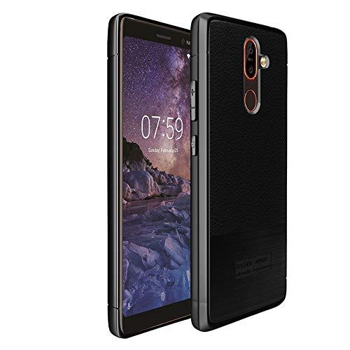 ebestStar - kompatibel mit Nokia 7 Plus Hülle Lederhülle Design TPU Handyhülle Schutzhülle, Flex Silikon Hülle, Schwarz [Phone: 158.4 x 75.6 x 8mm, 6.0'']