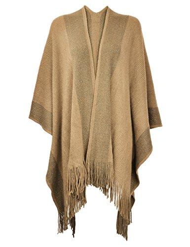ZLYC Damen Herbst/Winter Weiche Schlichte Poncho Capes Retro - Stil Cardigans Pullover Mantel mit Fransen (Camel)