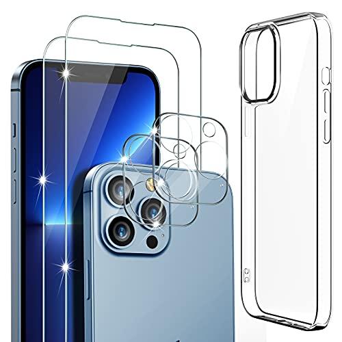 Mutoy Cristal Templado Compatible con iPhone 13 Pro Max Protector Pantalla (5 Piezas), 2 Cristal Templado + 2 Protector de Lente de cámara + 1 TPU Funda, [Transparente] [Antiarañazos]
