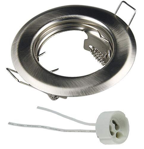 feinlux® Marco empotrable LED GU10, plateado cepillado, redondo, 55 mm – 75 mm de diámetro del agujero adecuado para cajas de montaje de 60 mm, incluye casquillo GU10