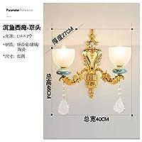 2020 Latest Design ヨーロッパの寝室のランプフランスの高級背景ガラス壁ランプ創造的なヘッドルームヴィラの夜、二重壁,H