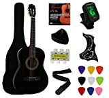 YMC 38' Black Beginner Acoustic Guitar Starter Package Student Guitar with Gig Bag,Strap, 3 thickness 9 picks,2 Pickguards,Pick Holder, Extra Strings, Electronic Tuner -Black