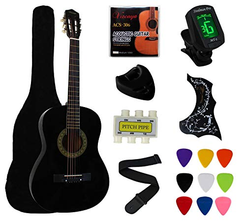 "YMC 38"" Black Beginner Acoustic Guitar Starter Package Student Guitar with Gig Bag,Strap, 3 thickness 9 picks,2 Pickguards,Pick Holder, Extra Strings, Electronic Tuner -Black"