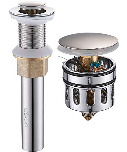 """REGALMIX Vessel Sink Drain, Bathroom Faucet Vessel Sink Pop Up Drain Stopper without Overflow Brushed Nickel, Built-In Anti-Clogging Strainer,Fits Standard American Drain Hole1-1/2"""" to 1-3/4"""",R085B-BN"""