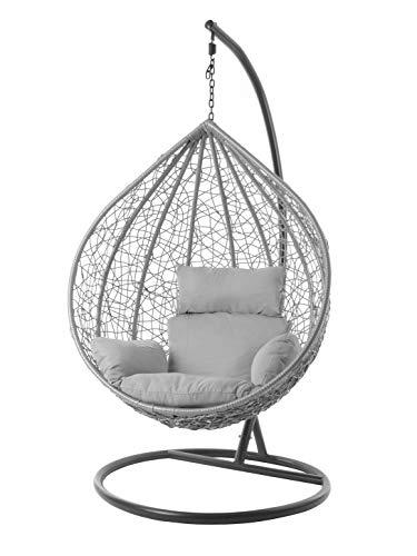 Kideo® Komplettset: XXL Hängesessel + Gestell & Kissen, Indoor & Outdoor, Poly-Rattan, grau (grau Nest (8008 Cloud))