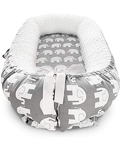 UAU Baby Nest Baby Sleep positioner & Lounger Soft Baby Bed Portable Crib,100% Cotton & Breathable Newborn Lounger