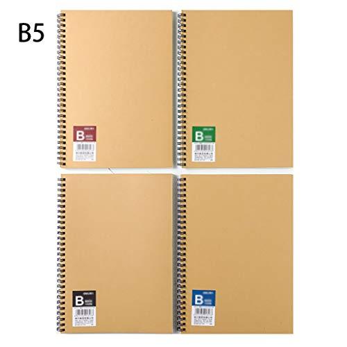 Cuadernos 4 Paquete clásico Notebookwith Premium Papel Grueso Cuaderno Espiral Encuadernado, con Papel Kraft Cubierta, por Estudiante Estudio Blocs de Notas y Diarios (tamaño : B5)