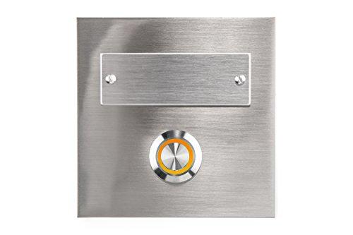 HUBER LED Klingeltaster 12315, 1-fach aufputz/unterputz, quadratisch, Echtmetalll, LED Lichtfarbe orange