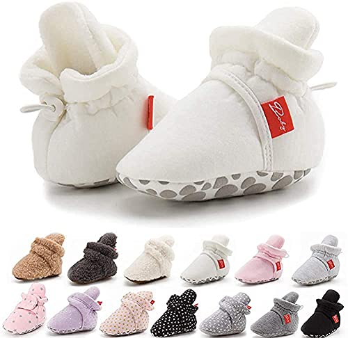 Botines antideslizantes para bebés y niñas, de algodón, suela suave, para invierno, cálidos, acogedores, para recién nacidos, primeros caminantes, zapatos de cuna, color, talla Small
