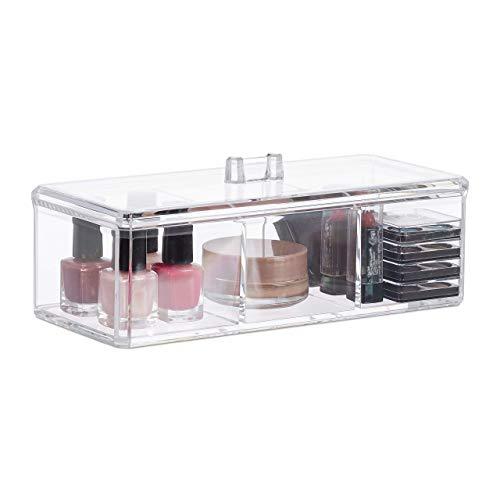Relaxdays acrylbox met deksel, 3 vakken, cosmetica, kleine voorwerpen, opbergdoos, h x b x d: 8 x 22,5 x 9,5 cm, transparant