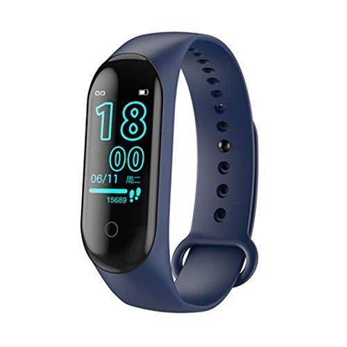 AIREQN Reloj Elegante M4 Banda Deporte Running podómetro Inteligente Muñequera Ritmo cardíaco Impermeable Pantalla táctil rastreador de Ejercicios Reloj for los Hombres (Color : Blue)