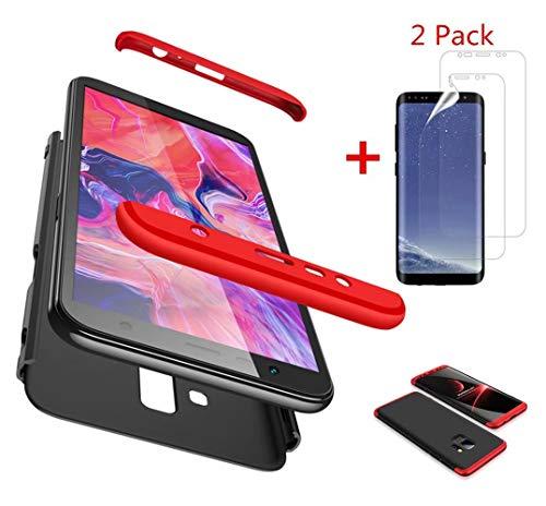 AILZH HandyHülle kompatibel für Samsung Galaxy S9 Hülle+[2*Weicher HD-Bildschirmschutz],HandyHülle PC Hartschale Anti-Schock Schutzhülle Stoßfänger Bumper Cover Case Schutzkasten(Rot schwarz)