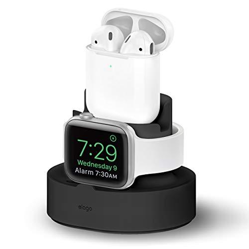 eelago Mini Charging Hub Mini Stazione di Ricarica Compatibile con Apple Watch 38 42 40 44mm Serie 5 (2019) 4 3 2 1, AirPods, iPhone 11, XS Max XR e Altro Ancora (Cavo Non Sono Inclusi) (Nero)