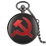 Rojo URSS Sickle Hammer Style Reloj De Bolsillo De Cuarzo Collar Colgante De Bronce Reloj CCCP Rusia Emblema Comunismo Cadena Regalos