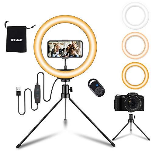 """JEEMAK LED Ringlicht mit Stativ Handy, 10"""" Selfie Ringleuchte mit Fernbedienung und USB-betrieben, 3 Lichtmodi 10 Helligkeitsstufen, Tisch Ringlicht für Makeup, Live-Streaming, TikTok, Fotografie"""