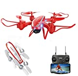 YEIBOBO Foldable Drone Rocket Man with Altitude Hold Function, Drone Toy for Kids (Red, WiFi Camera Altitude Hold)