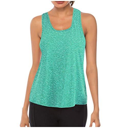 Masrin Gilet de yoga pour femme - Débardeur de fitness sans manches - En maille filet respirante XL Vert menthe.
