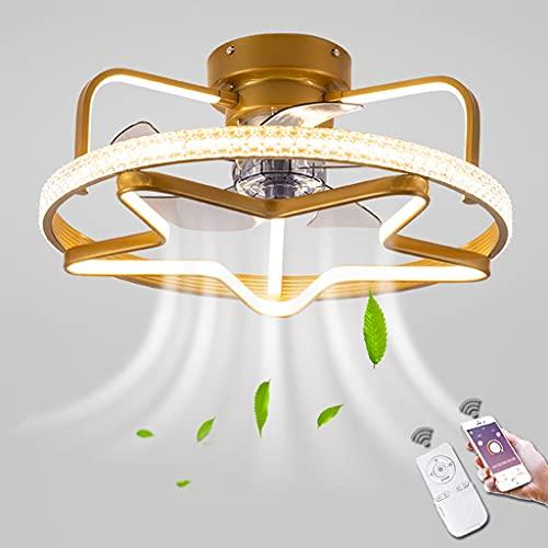 Ventilador De Techo LED Con Control Remoto Fan Lámpara De Techo Velocidad Del Viento Ajustable Ventilador De Control Remoto Regulable Luz De Techo Para Dormitorio Sala De Estar Comedor (Star,Gold)