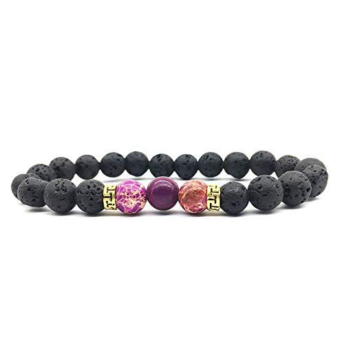 Armband van natuursteen, natuurlijke keizers, paars, steen, vulkanisch design, uniseks, turquoise, armband, instelbaar, eenvoudig cadeau voor vriend en vriend