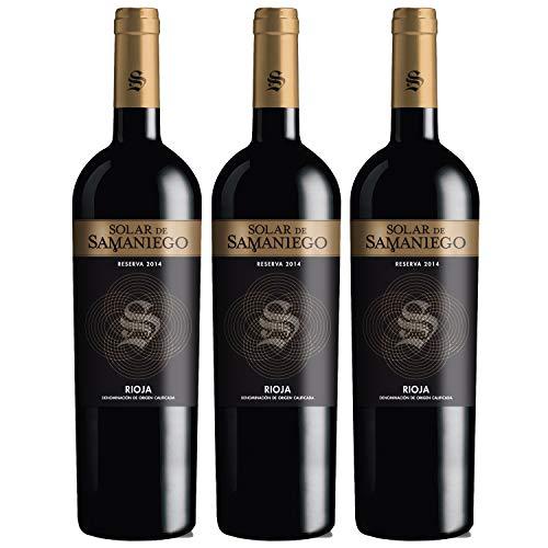 Solar de Samaniego – Vino Tinto Reserva 2014 Denominación de Origen Calificada Rioja Alavesa, Variedad Tempranillo, 12 meses en barrica – Caja de 3 botellas x 750 ml – Total: 2250 ml