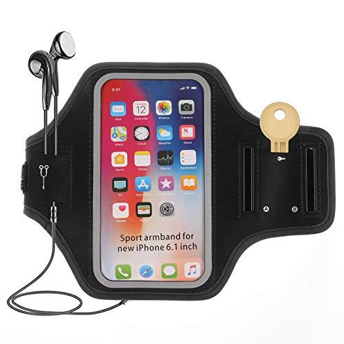 Heyu-Lotus Brazalete para teléfono móvil resistente al sudor, brazalete deportivo con llaves y ranura para auriculares para correr, ciclismo, senderismo