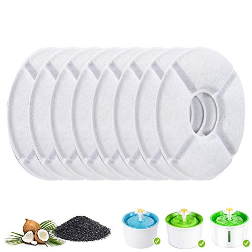 Woorea 8 Piezas de filtros de carbón Activado para dispensador de Agua automático Bebederos para Gatos Gatitos para Perros Tazón para Mascotas Beber filtros para Platos