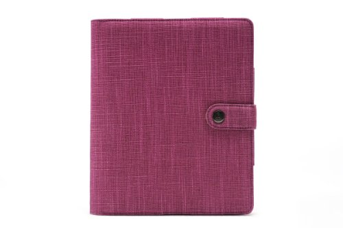 Booqpad Custodia per iPad 2 3 4 con blocco note, finitura fibre naturali, viola
