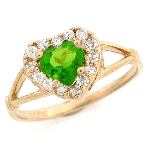 Jewelry Liquidation 10k Gold Heart Simulated Peridot August Birthstone...