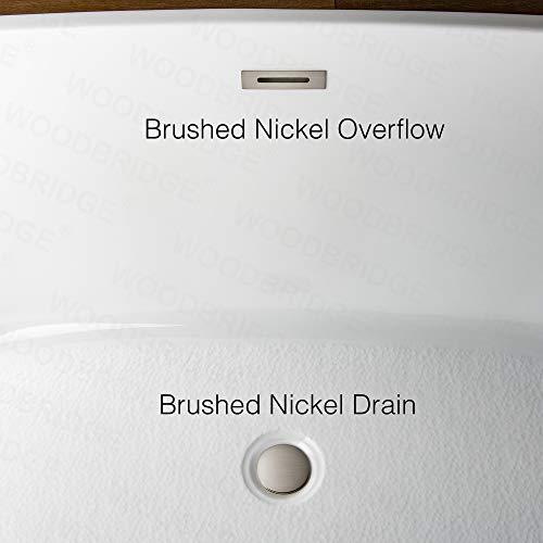 WOODBRIDGE BTA-1513 Acrylic Freestanding Bathtub Contemporary Soaking Tub with Brushed Nickel Overflow and Drain, BTA1513 White, 67