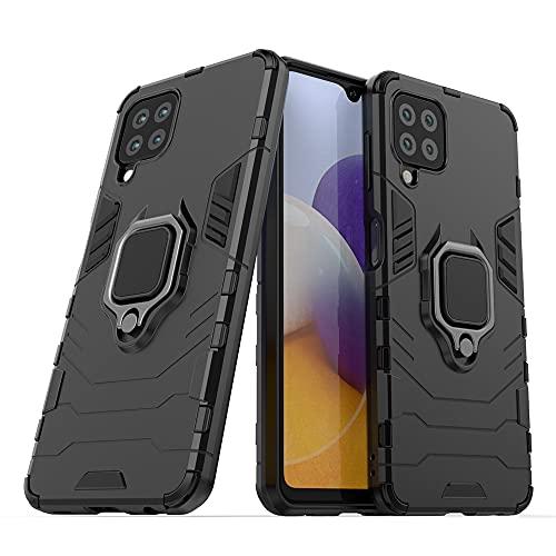 JIAFEI Funda para Samsung Galaxy A22 4G, Grado Militar Anti-Caída Carcasa Resistente con 360° Anillo Rotacion, Negro