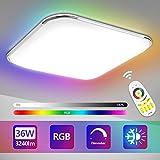 Hengda 36W LED Deckenleuchte, RGB Farbwechsel, Dimmbar, Farbtemperatur Einstellbar, Deckenlampe mit...
