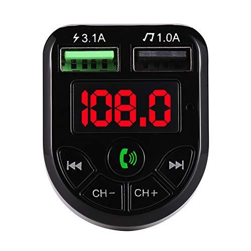 isinlive Cargador de coche USB, adaptador de cargador de coche con pantalla digital LCD, transmisor de FM Bluetooth 5.0 MP3 música 3.1 A 1 A carga rápida adaptador de coche de doble puerto