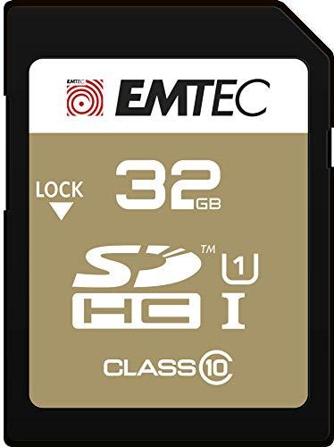 EMTEC ECMSD32GHC10GP - Carte SD - Classe 10 - Gamme Elite Gold - UHS-I U1 - Avec Adaptateur Performance - 32 Gb